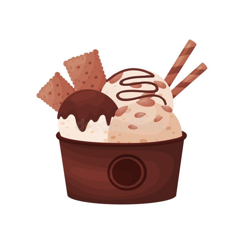 Schokoladenbälle Eiscreme in einer braunen Pappschüssel Vektorabbildung auf wei?em Hintergrund lizenzfreie abbildung