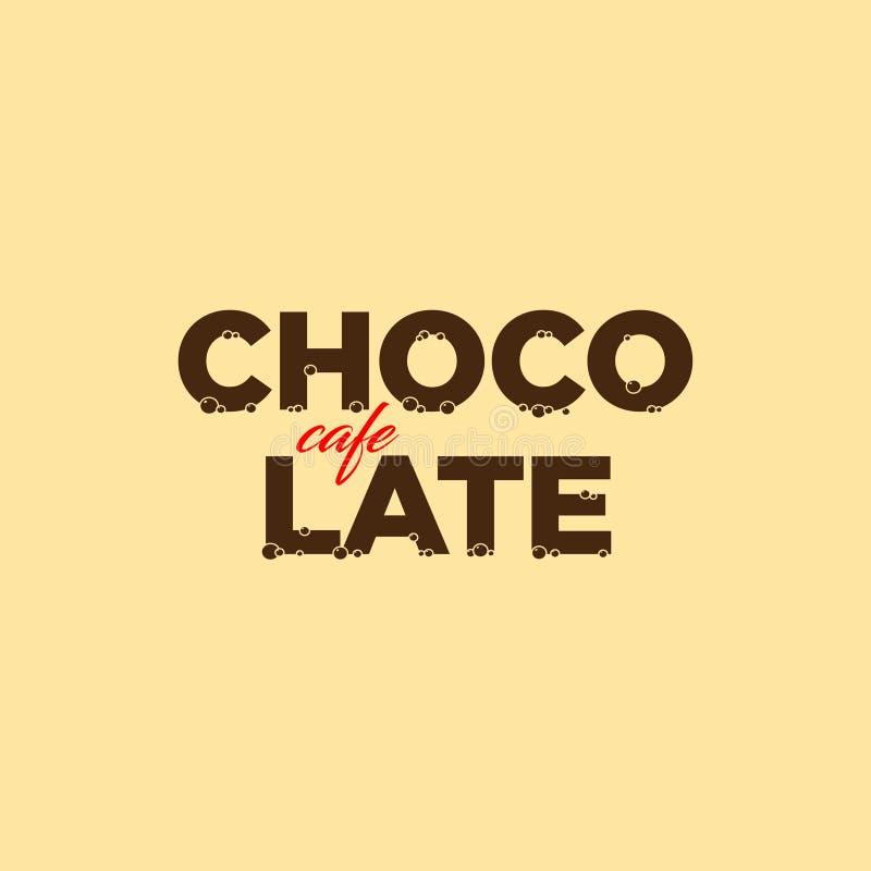 Schokoladencafélogo Nachtischemblem Schöne Buchstaben mit einer Schokoladenbeschaffenheit lizenzfreie abbildung