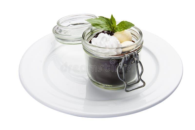 Schokoladencreme mit mascarpone Italienischer Teller lizenzfreies stockfoto