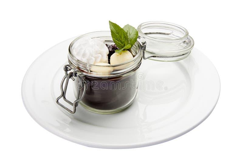 Schokoladencreme mit mascarpone Traditioneller italienischer Teller lizenzfreies stockfoto