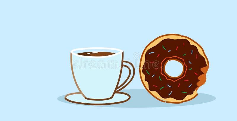 Schokoladendonut mit Plätzchennachtisch-Mittagspause-Konzeptskizze der Kaffeetasse der süßen frisch gebackenen horizontal lizenzfreie abbildung