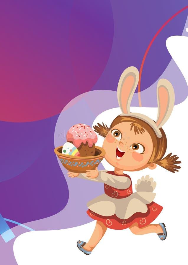 Schokoladenei der laufenden Jagd des Lächelns des kleinen Mädchens vector dekoratives in den Osterhasen-Kostümohren und Endstück  stockbild