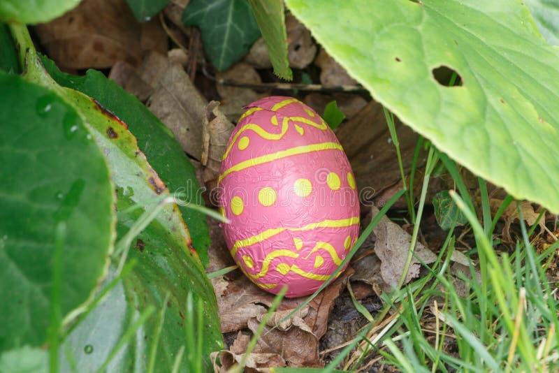 Schokoladenei versteckt im Gras für Ostern lizenzfreie stockbilder