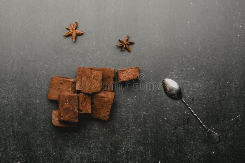 Schokoladeneibische mit Gewürzen stockbild