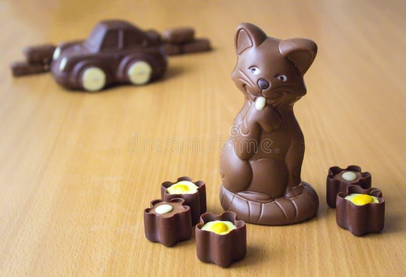 Schokoladenfiguren stockbild