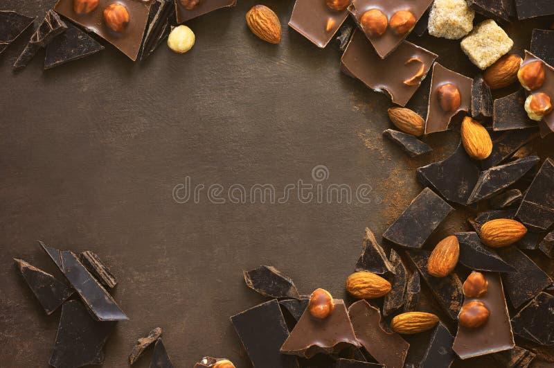 Schokoladenhintergrund mit einem Raum für einen Text stockbild