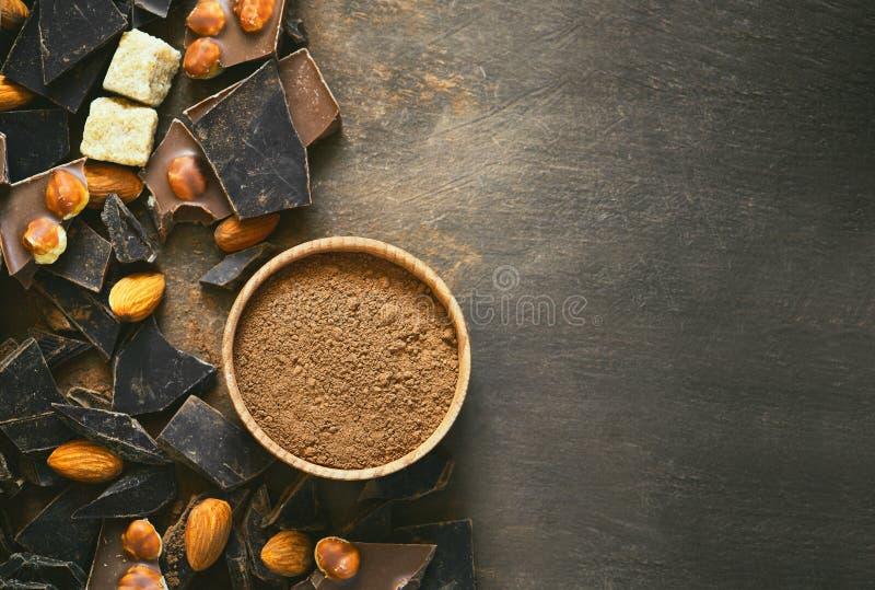 Schokoladenhintergrund mit einem Raum für einen Text stockfotografie