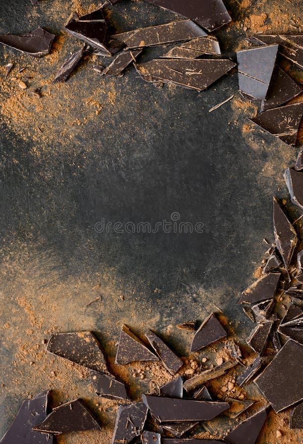 Schokoladenhintergrund mit einem Raum für einen Text stockbilder