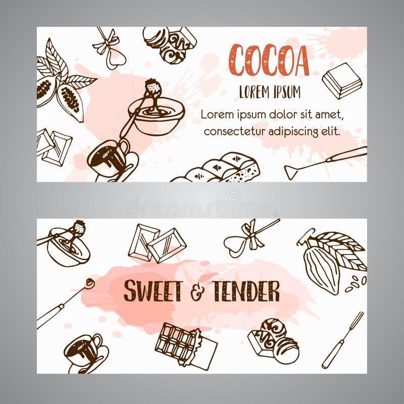 Schokoladenkakao-Skizzenfahnen Kakaofahne Entwerfen Sie Menü für Restaurant, Shop, die Süßigkeiten, kulinarisch, Café kakao lizenzfreie abbildung