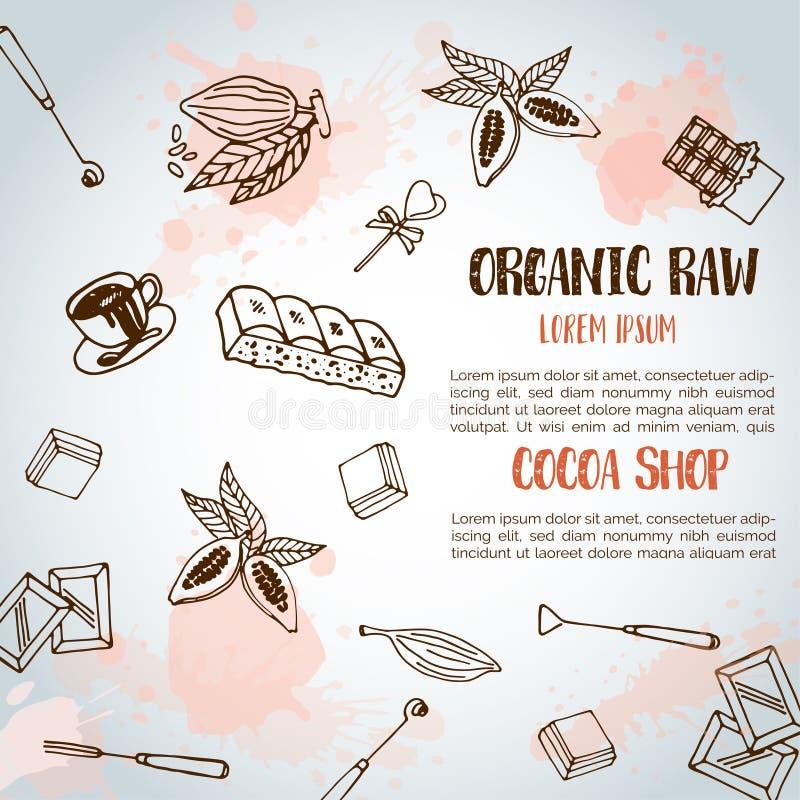 Schokoladenkakao-Skizzenhintergrund Entwerfen Sie Menü für Restaurant, Shop, die Süßigkeiten, kulinarisch, Café, Cafeteria, Bar stock abbildung