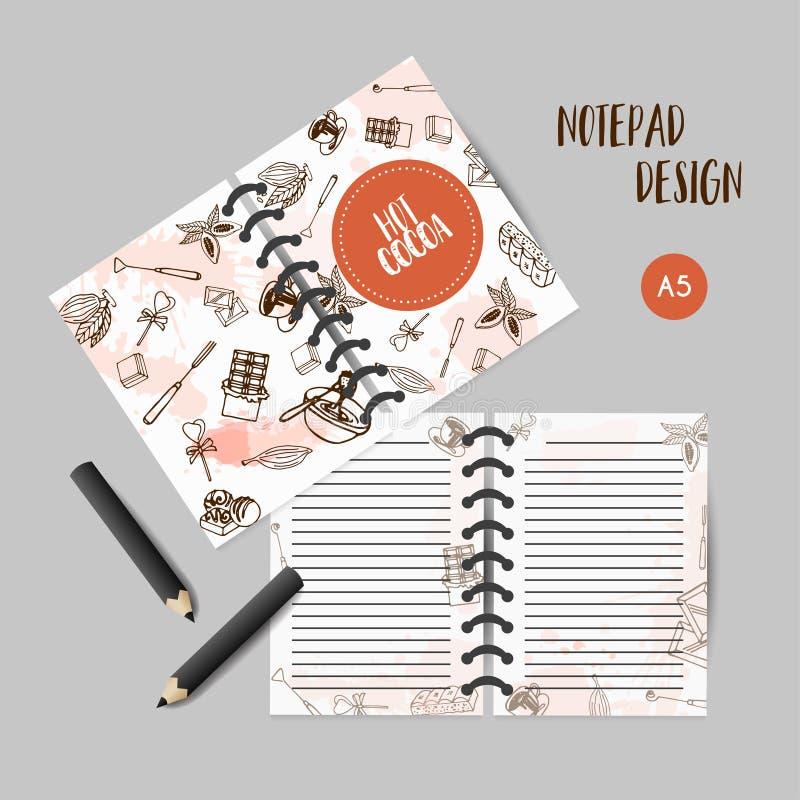 Schokoladenkakao-Skizzenplaner Kakaoorganisator Design für Restaurant, Shop, Süßigkeiten Anmerkungen für Stange, Café Zu tun stock abbildung