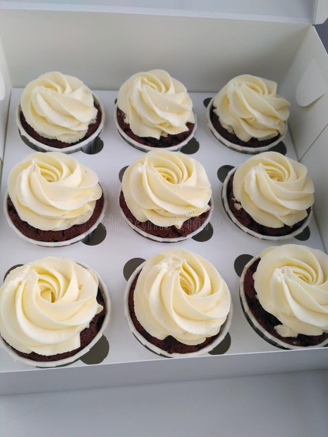 Schokoladenkleiner kuchen mit Carmel und weißem creamcheece lizenzfreie stockbilder