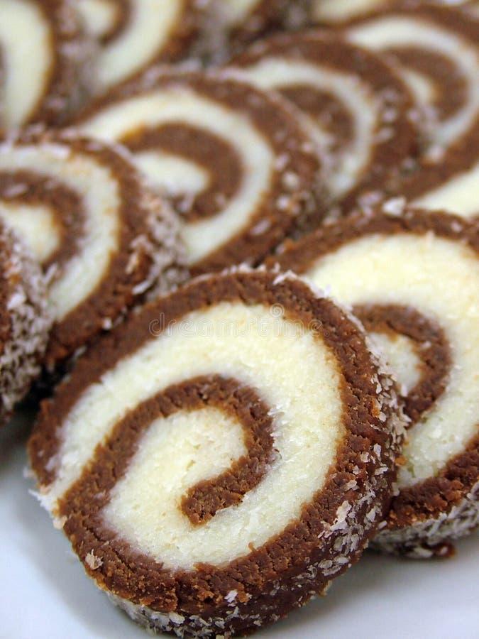 Schokoladenkokosnußrollenkuchen lizenzfreie stockbilder