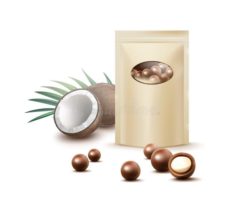 Schokoladenkokosnusssüßigkeiten stock abbildung