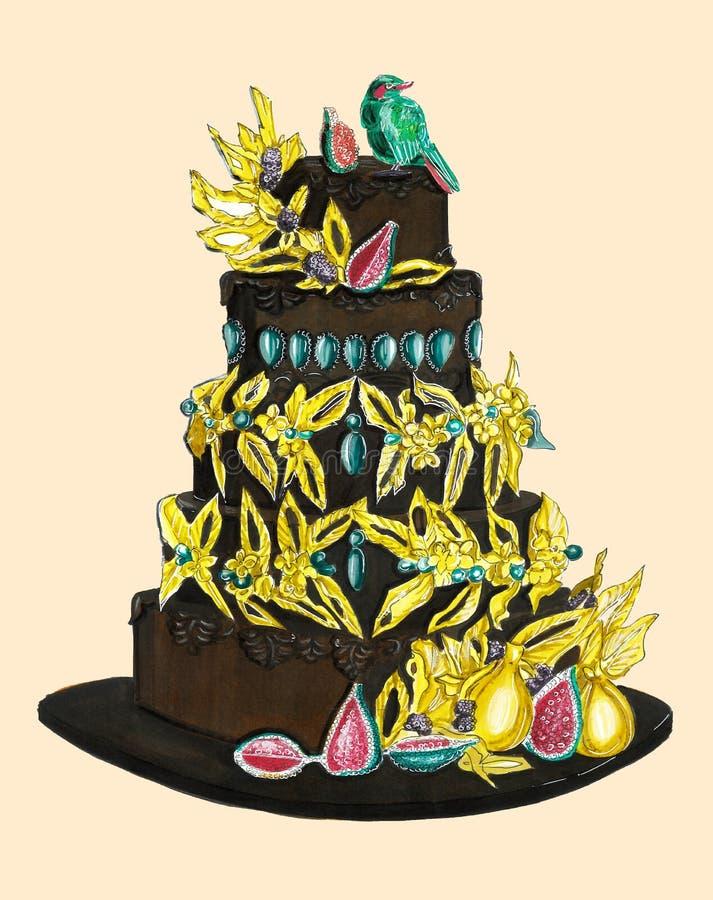 Schokoladenkuchen mit dem Gold verziert mit Vögeln lizenzfreie stockbilder