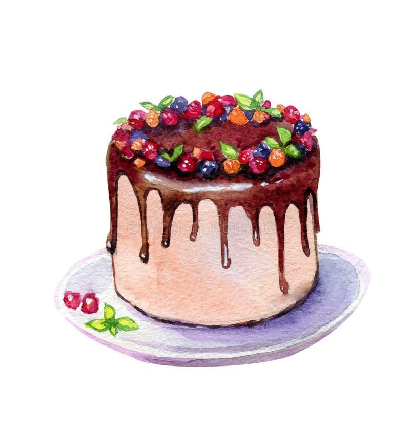 Schokoladenkuchen mit der Beerenaquarellillustration lokalisiert auf Weiß stock abbildung