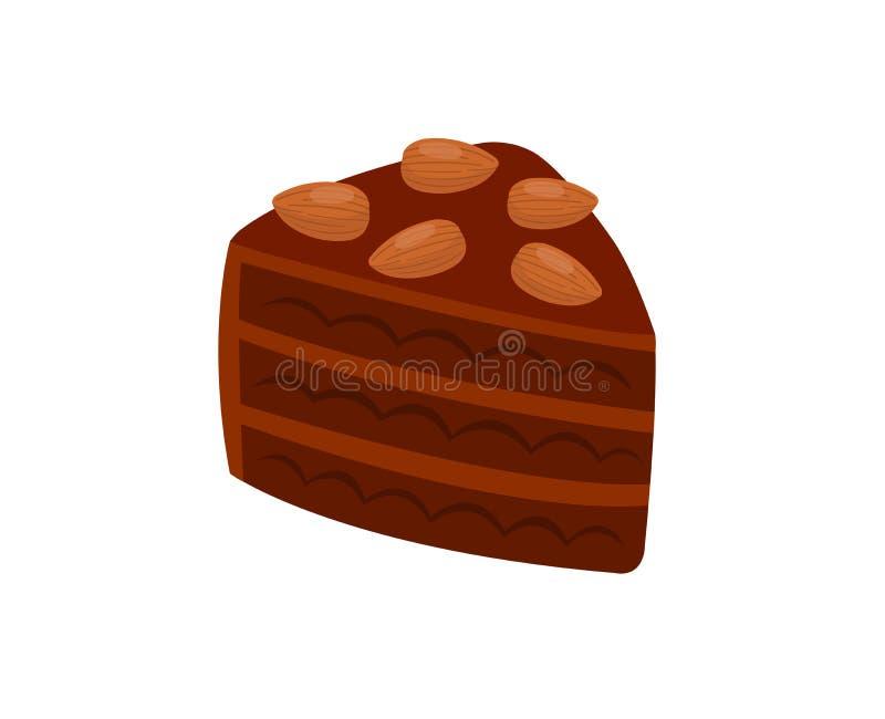 Schokoladenkuchen mit der Mandel lokalisiert auf weißem Hintergrund stock abbildung