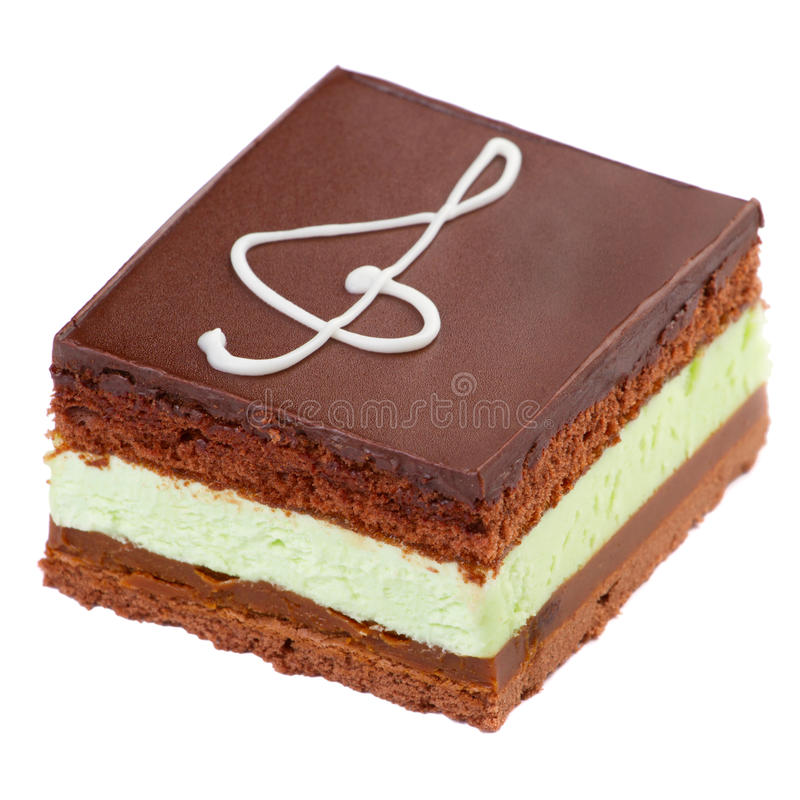 Schokoladenkuchen mit einem Zeichen des dreifachen Clef stockbilder