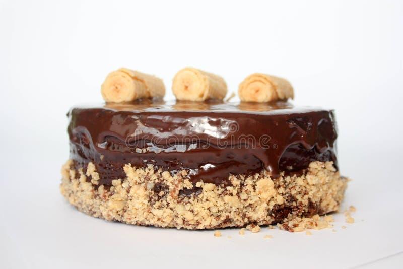 Schokoladenkuchen mit an hängen lizenzfreie stockbilder