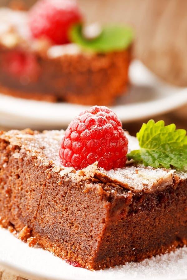 Schokoladenkuchen mit Himbeere lizenzfreie stockfotografie