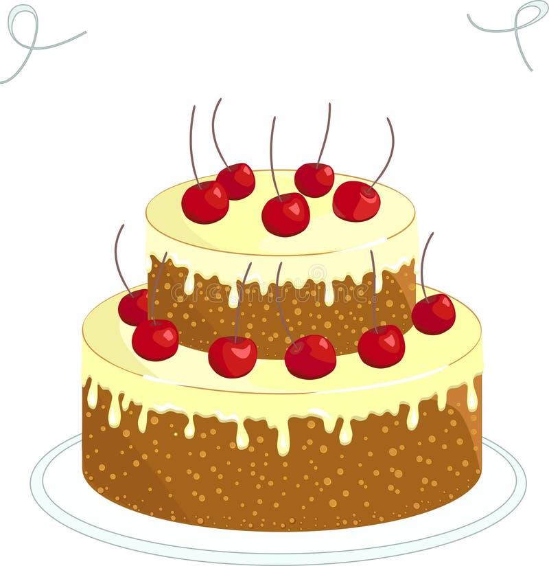 Schokoladenkuchen mit Kirsche lizenzfreies stockfoto