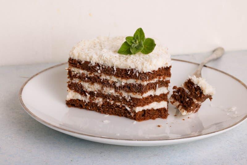 Schokoladenkuchen mit weißer Creme und zerrissener Kokosnuss lizenzfreies stockbild