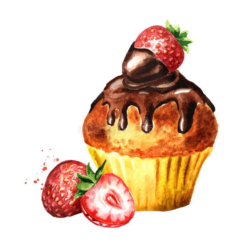 Schokoladenkuchenkuchen mit Erdbeere Gezeichnete Illustration des Aquarells Hand, lokalisiert auf weißem Hintergrund stockbild