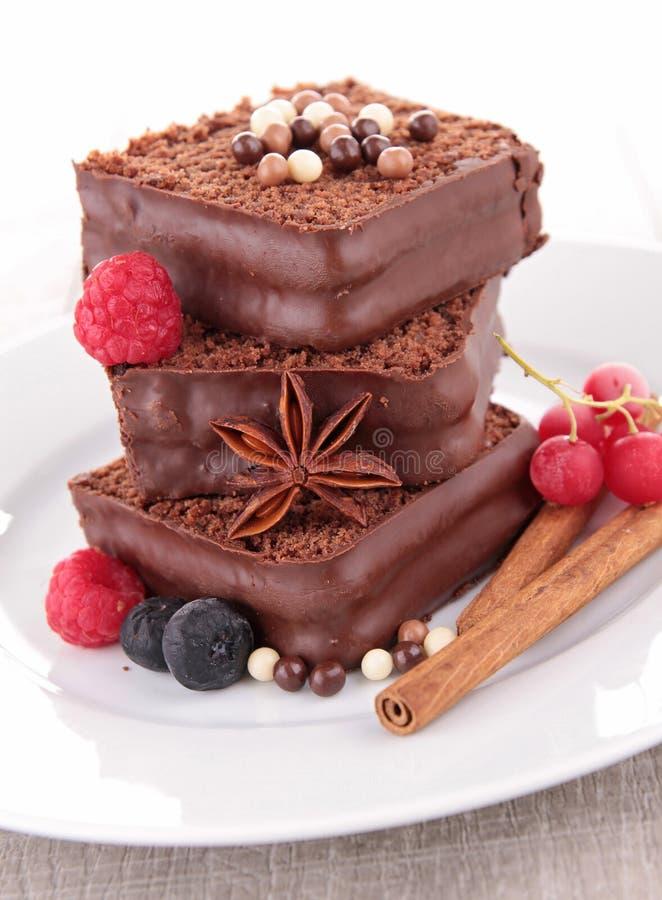Schokoladenkuchennachtisch stockbilder