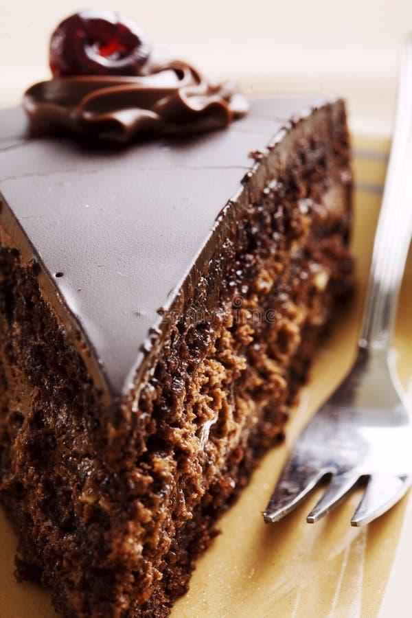 Schokoladenkuchenscheibe stockfotos