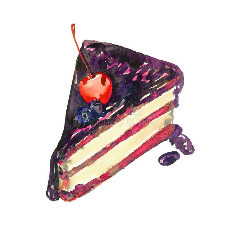 Schokoladenkuchenscheibe mit Beeren, handgemalte Aquarellillustration lokalisiert auf Weiß stockfotografie