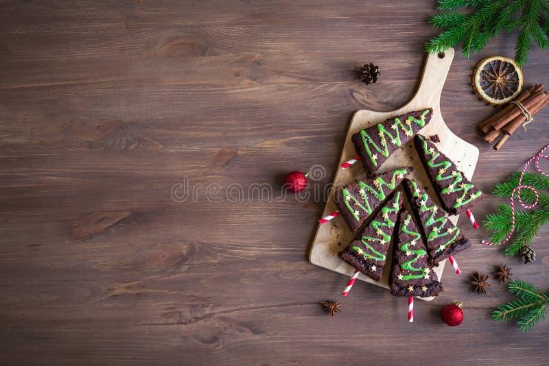 SchokoladenkuchenWeihnachtsbäume lizenzfreie stockfotografie