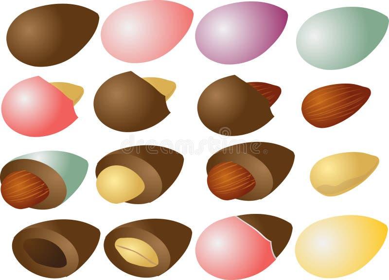 Schokoladenmandeln vektor abbildung