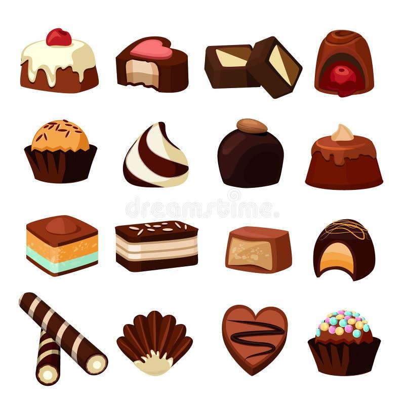 Schokoladennachtische Illustrationen von Bonbons und von Süßigkeit lizenzfreie abbildung