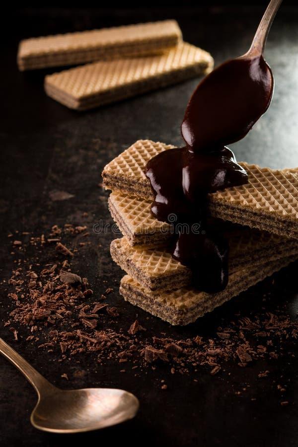 Schokoladenoblaten bedeckt durch eine geschmolzene Schokolade lizenzfreies stockfoto