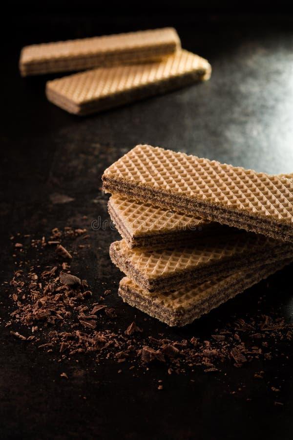 Schokoladenoblaten mit den choco Krumen stockbild