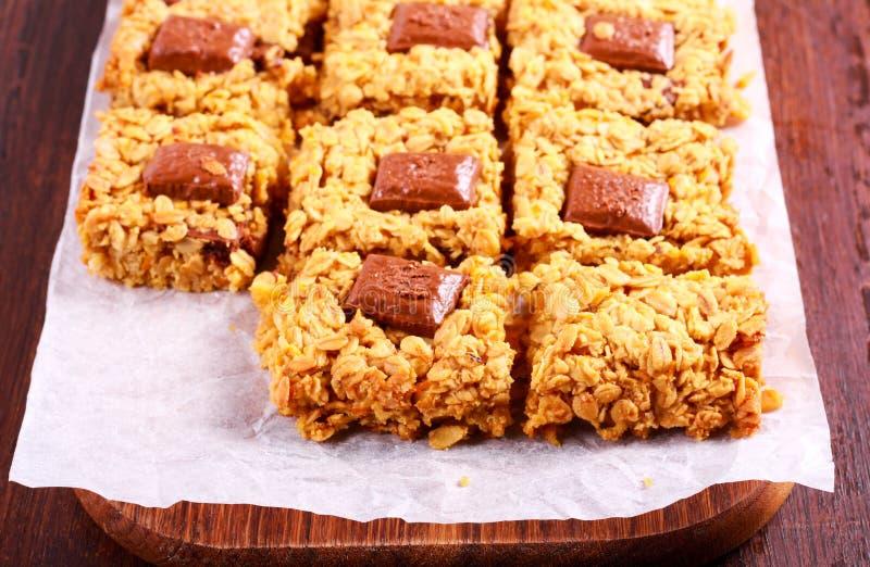 Schokoladenorange Flapjacks stockbild