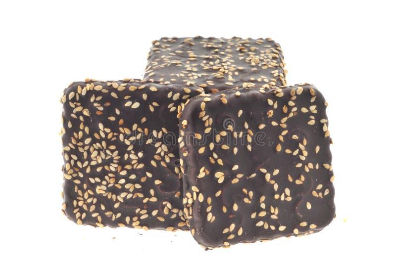 Schokoladenplätzchen getrennt lizenzfreie stockbilder