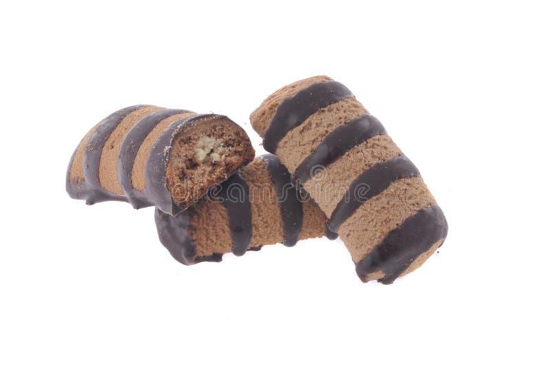 Schokoladenplätzchen getrennt stockbild