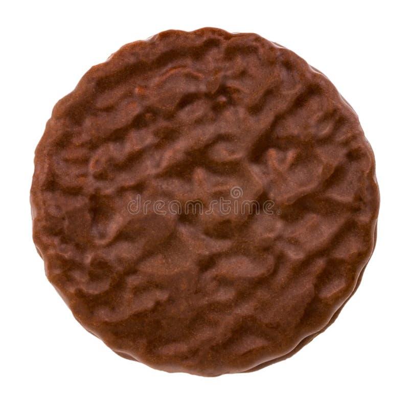 Schokoladenplätzchen oben lokalisiert auf weißem Hintergrundabschluß lizenzfreie stockbilder