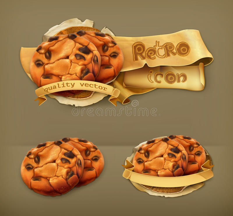 Schokoladenplätzchen, Vektorikonen lizenzfreie abbildung