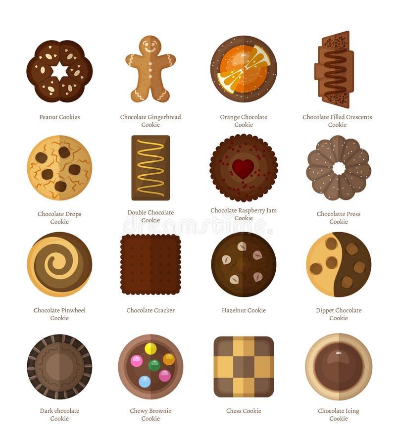 Schokoladenplätzchenikonen vektor abbildung