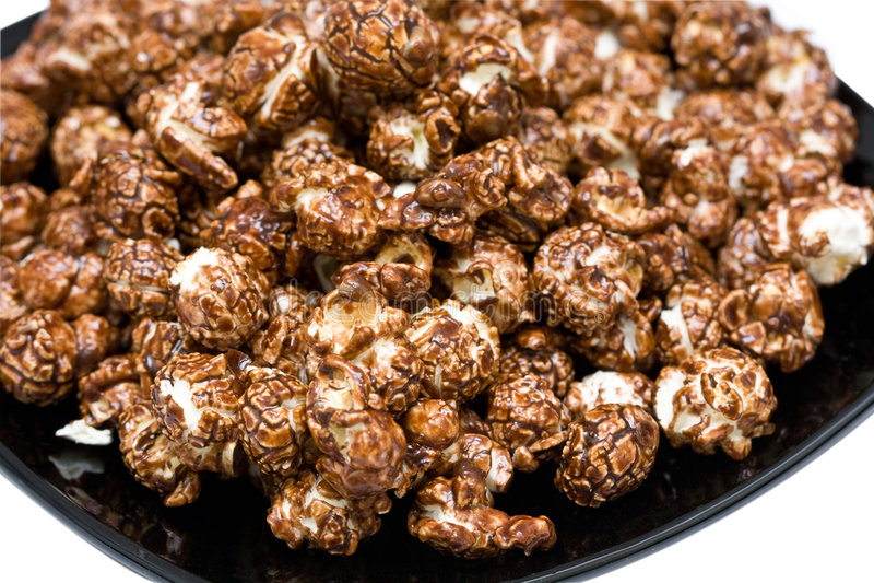 Schokoladenpopcorn stockbild