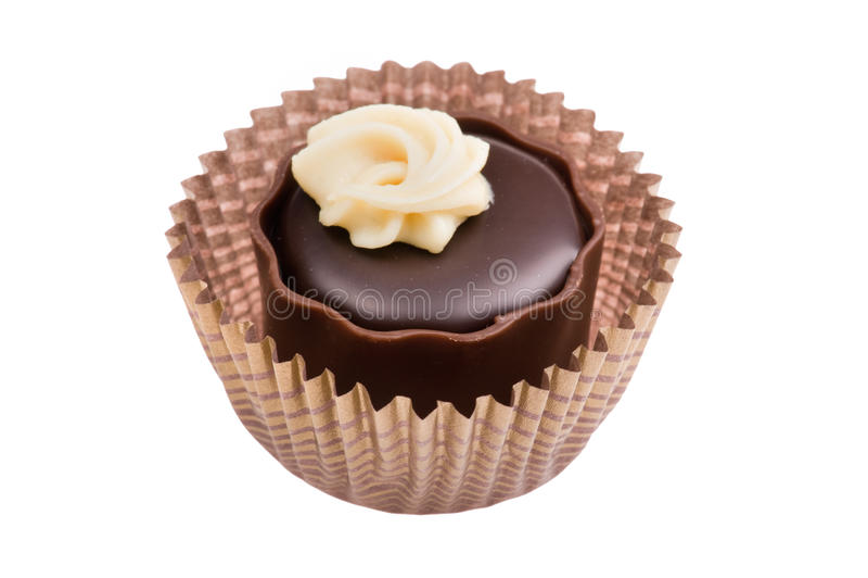 Schokoladensüßigkeit auf Weißabschluß oben lizenzfreies stockfoto