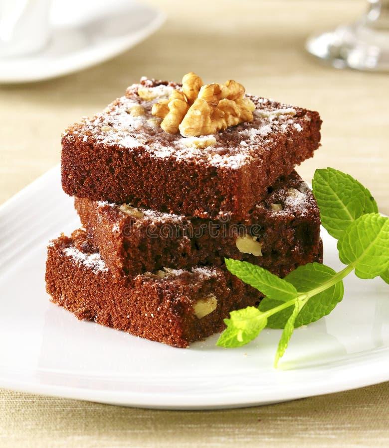 Schokoladenschokoladenkuchenstapel stockbilder