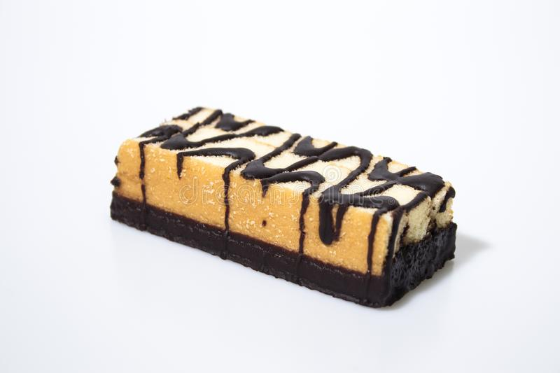 Schokoladensnackbar lokalisiert in einem weißen Hintergrund stockfoto