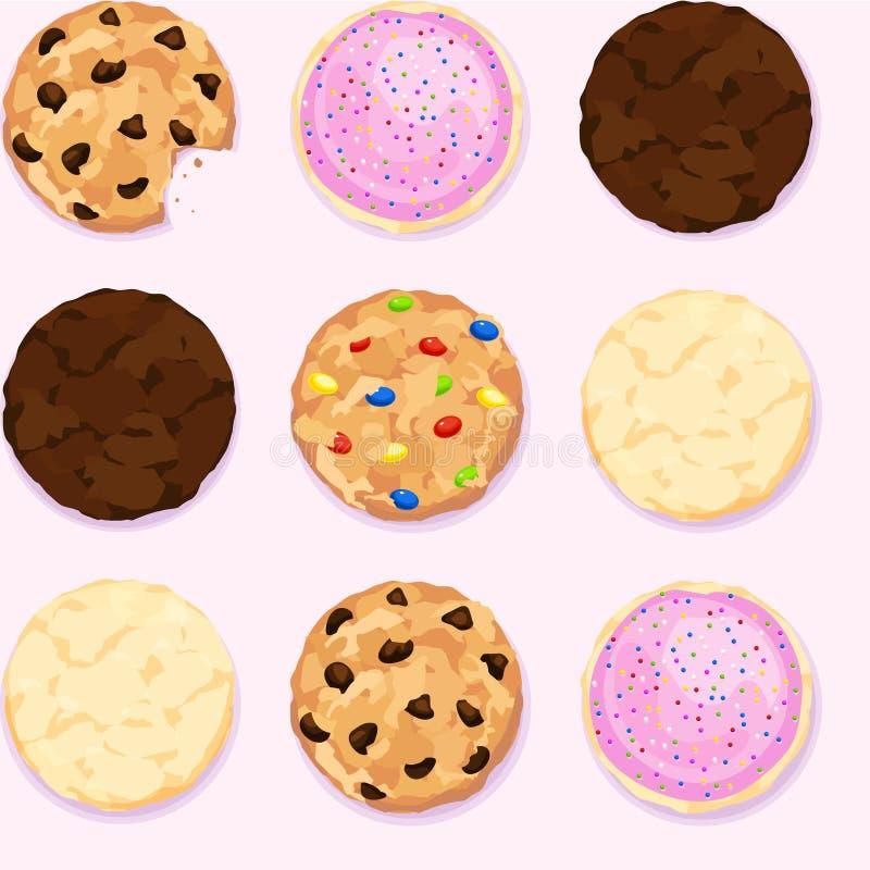 Schokoladensplitter, Zucker, Fudge-Plätzchen-nahtloser wiederholender Hintergrund stock abbildung