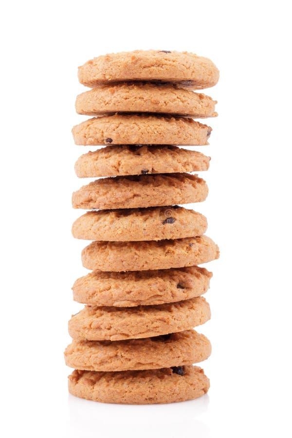 Schokoladensplitterplätzchen lokalisiert auf weißem Hintergrund lizenzfreies stockfoto