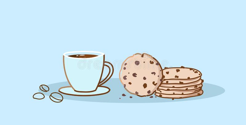 Schokoladensplitterplätzchen mit süßem gebackenem Nachtisch der Kaffeetasse mit heiße Getränkhanddem gezogenen Skizzengekritzel h lizenzfreie abbildung