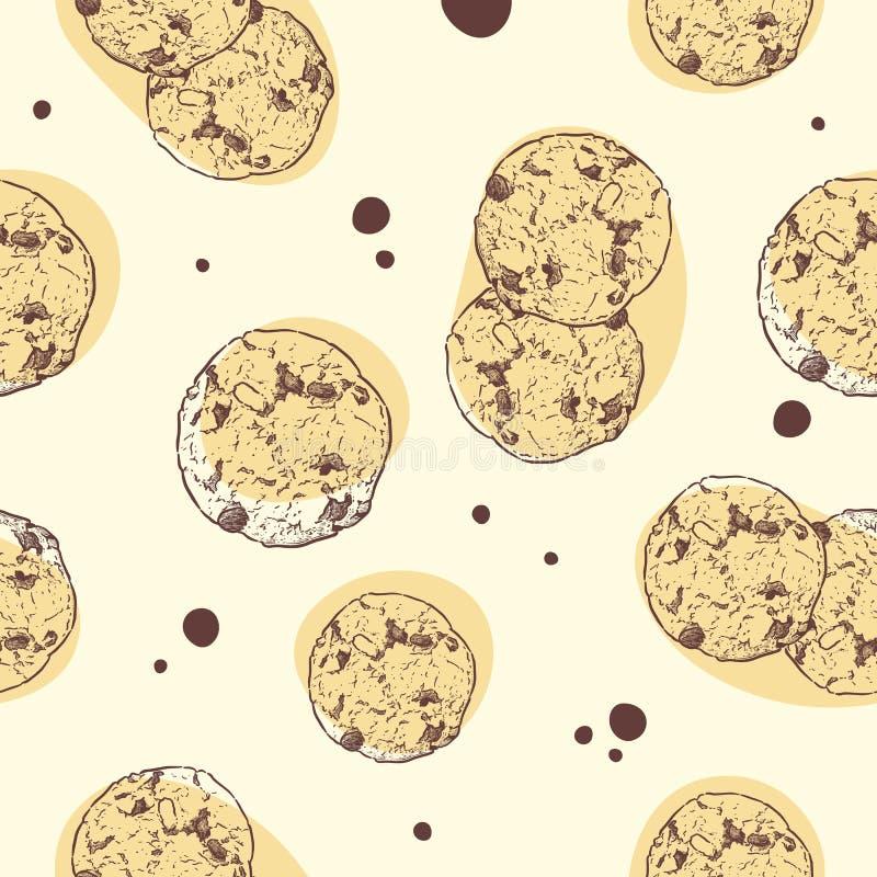 Schokoladensplitterpl?tzchen, nahtloser Mustervektor vektor abbildung