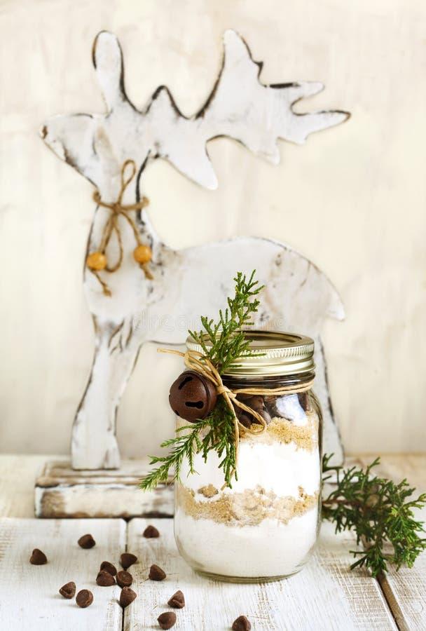Schokoladensplitterplätzchenmischung für Weihnachtsgeschenk stockfotografie